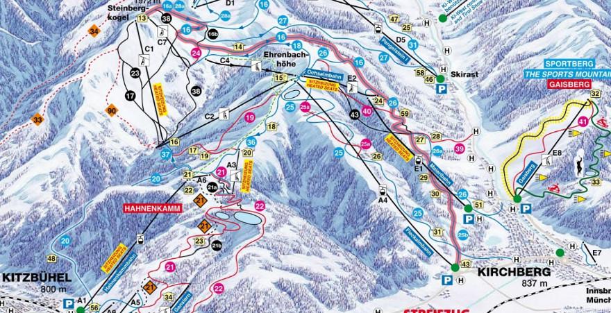 Plattegrond skigebied Kirchberg